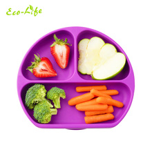 BPA Free silicone baby food divider <strong>plate</strong> and placemat baby suction feeding <strong>plate</strong>