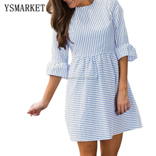 White Striped Seersucker Women Skater Dress Pleated Flounce 3/4 Sleeved Brief Autumn Fashion Sweet Style E220092