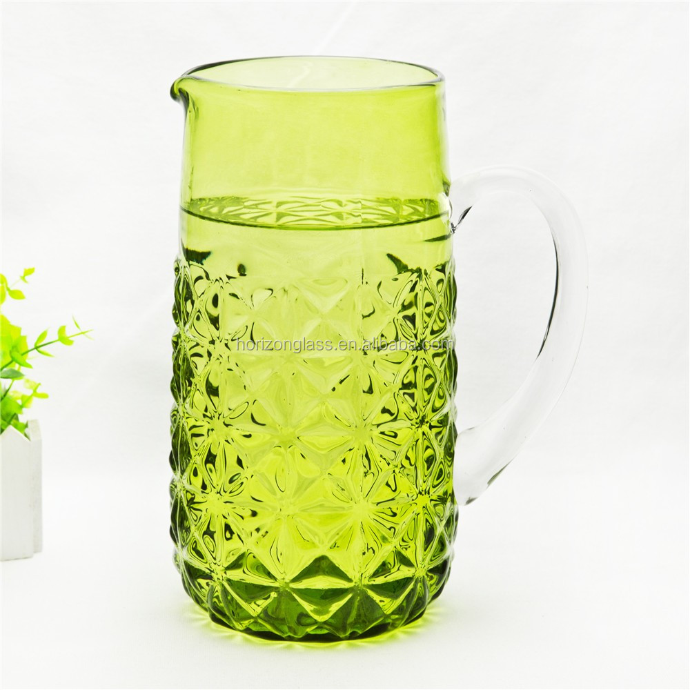 2.2L giant hot sale mouth blown colored glass water carafe/pitcher/jug/pot with handle