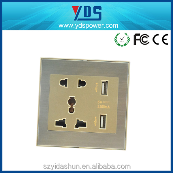 alibaba express china top quality UK type the chrome model and brushed silver Wall Plate with USB Socket