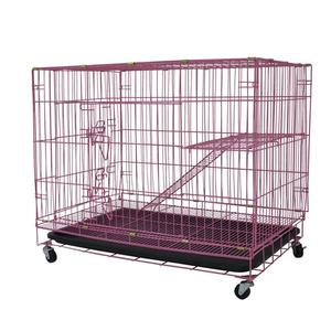 Pink folding wire pet cat kennels dog crate cage