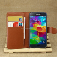 Factory Price Lichee Leather Pouch Wallet Case Folio Stand Cover For Samsung Galaxy S5 mini