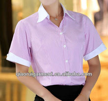 Ladies high quality short sleeve white collar and cuff uniform shirts