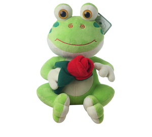 Wholesale Valentine Plush frog stuffed animals with rose in hand for girl