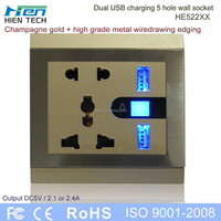 13 amp 2 gang switched socket USB outlet socket 5v2.1a for iphone5c 5s ipad sumsung charging