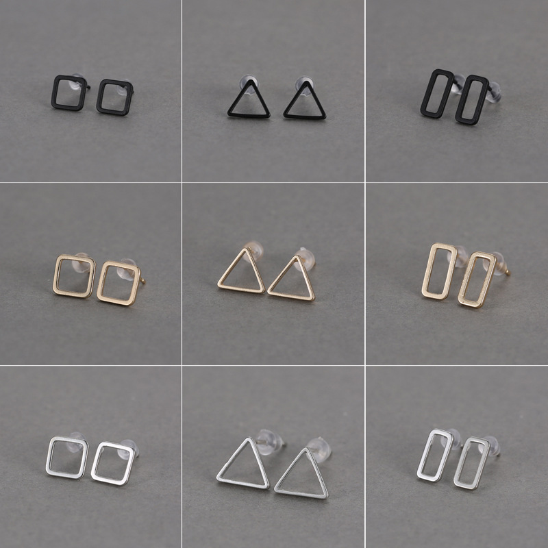 ladies party fashionable geometrical design accessories simple hollow triangle/rectangle/square fancy stud <strong>earring</strong>