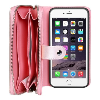 PU Leather Pink Color Nice Design With Customized Logo Card And Money Pockets Zipper Phone Wallet Bag