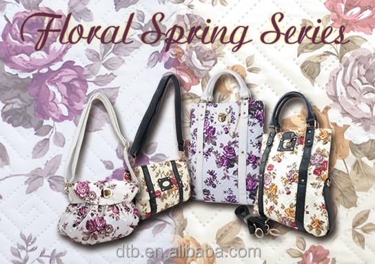 Floral Cotton Quilted Handbag with Customize Metal Logo Plate