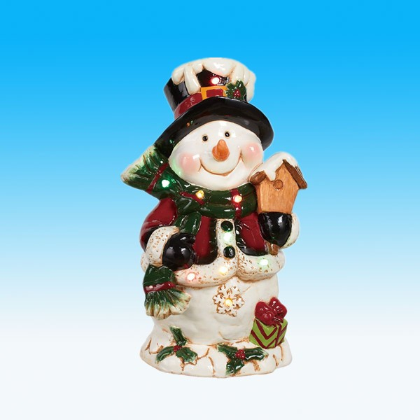 custom outdoor ceramic snowman statue for christmas decoration