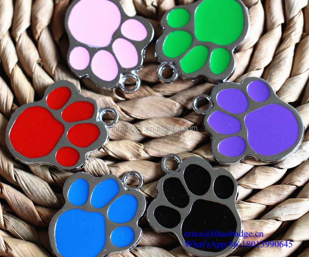 Round Paw Dog Pet ID Tags Alloy Metal Glitter Enamel Dog Tag
