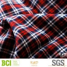 cotton heavy custom checked printed flannel fabrics for shirts dress cloth garment