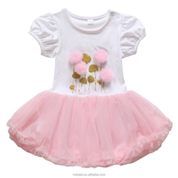 New Style Pompon Decorated Fancy Designs Baby Girls Dress BY571