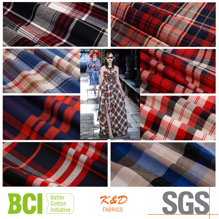 custom designer yarn dyed plaid 100% polyester twill fabric price kg for shirts dress cloth