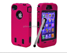 Shockproof and robot design combo case for iPhone 5 with touch pen stylus