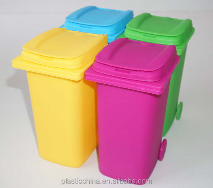2017 NEW DESIGN dustbin shape wheelie small waste bin garbage can for table
