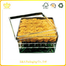 High quality clear acrylic box for roses, roses packaging display acrylic box made in China