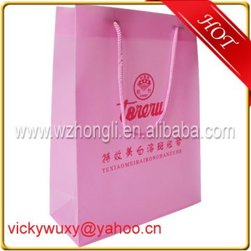 Pink Color PP Gift Bags with Cotton Handle
