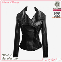 Women high quality bodycon slim fit custom motorcycle jacket