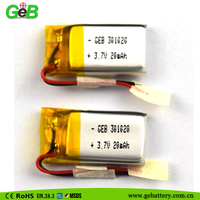 301020 3.7v 20mah environmental friendly chemistry lipo battery 20mah