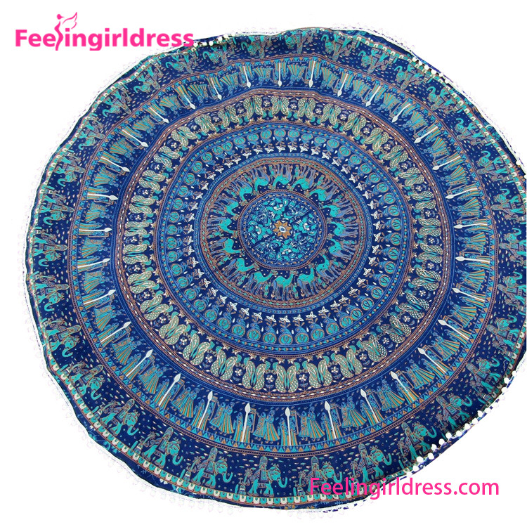 Popular Indian Sexy Printed Cotton Round Mandala Beach Towel