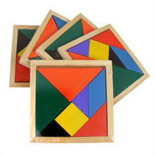 Wooden Tangram 7 Piece Jigsaw Puzzle Colorful Square IQ Game Brain Teaser Intelligent Educational Toys for Kids