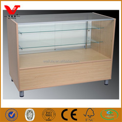 Retail mobile phone store used deep glass and wood modern display cabinet