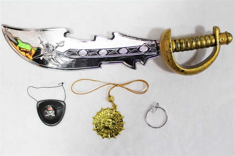 plastic pirate sword with eye patch earring and badge for kid toy