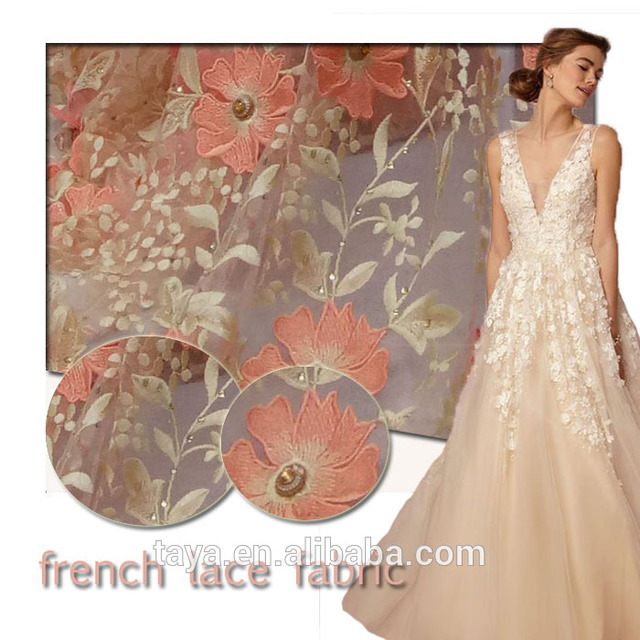2017 newest 3d flower french lace high quality african women wedding dress lace 4143