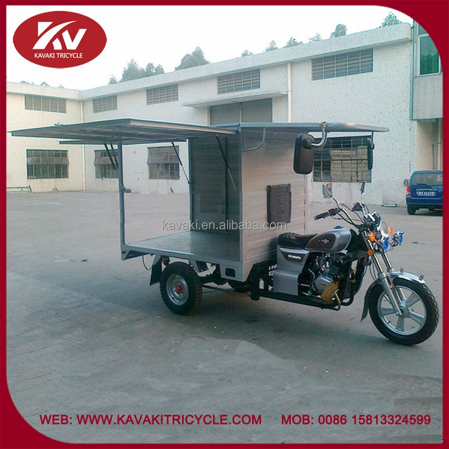 Chinese Guangzhou factory supply new three wheel closed carbin petrol cargo motorcycle