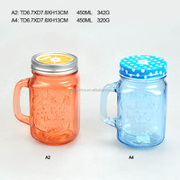 Coloured Glass Mason Jar With Tin Lid And Straw