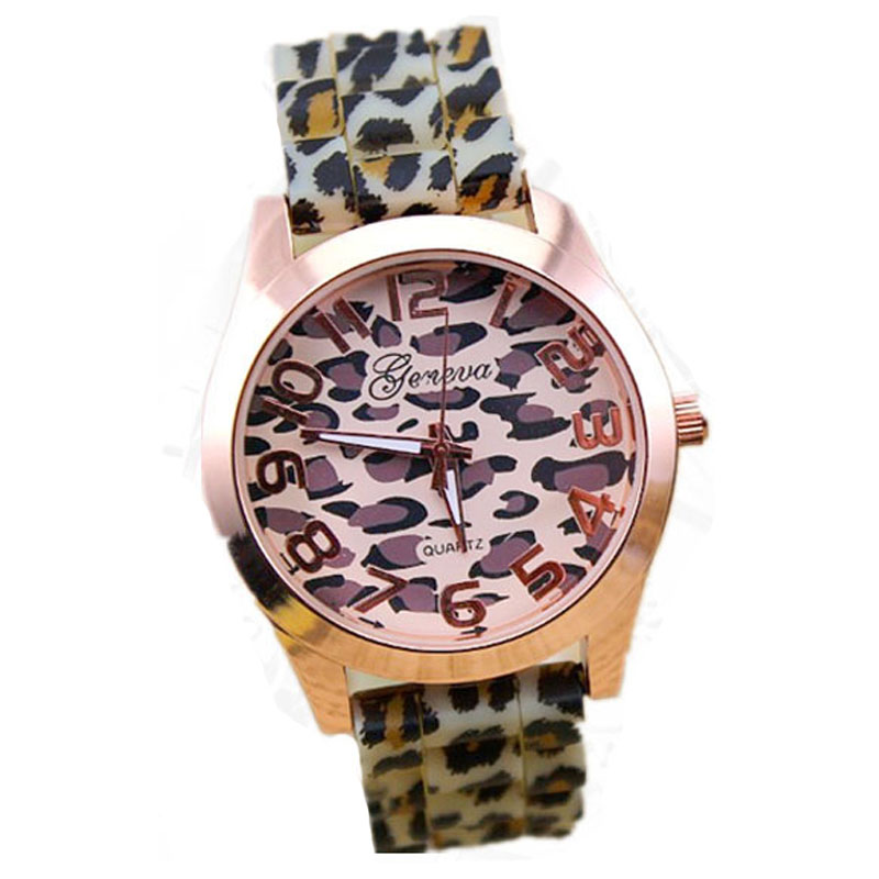 Brand Geneva Leopard Pattern Silicone Jelly Watches Hot Sale Quartz Watches Women Hot Sales Lady's Watch