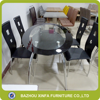 Tea Restaurant Black Color Oval Double Layer Glass Dining Table With Leather Chairs
