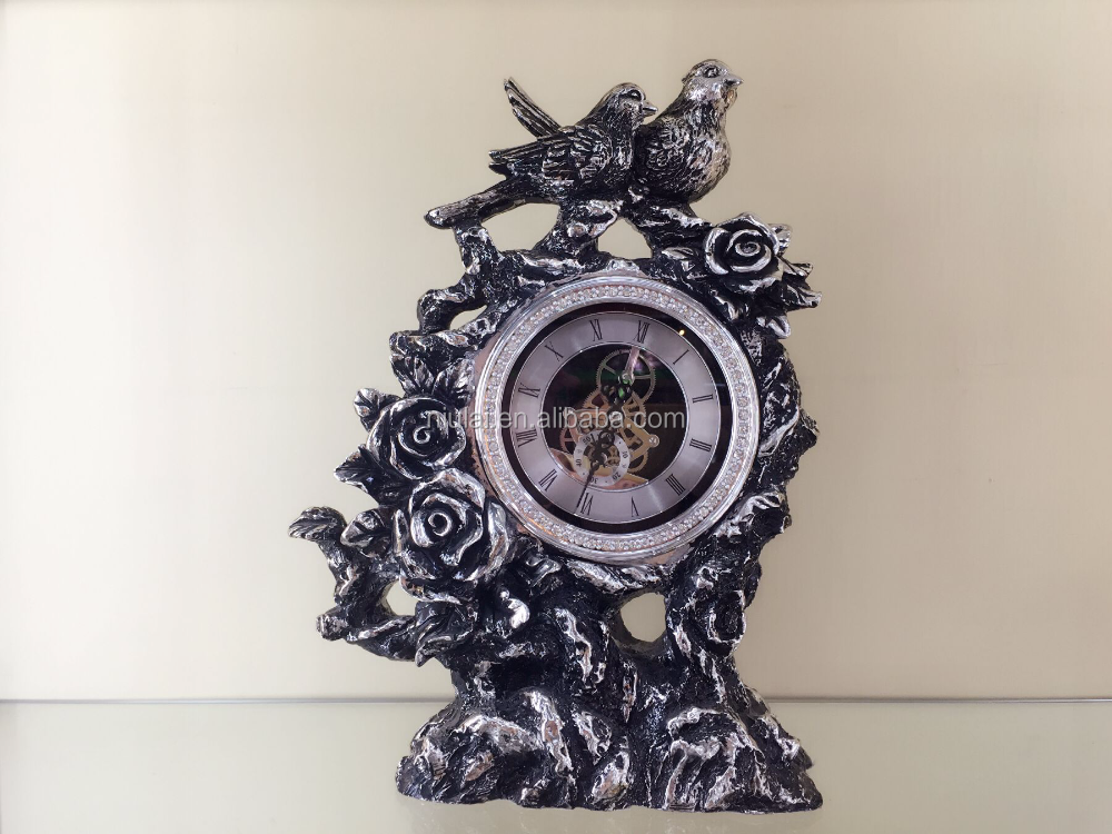 Home decoration figure polyresin crafts bird with clock table decorative resin statue