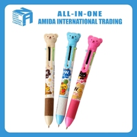 2015 high quality creative cute cartoon bear six color ballpoint pen