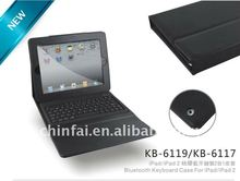 CE FCC Rohs Silicon Bluetooth keyboard with leather case for iPad/iPad 2/the new iPad