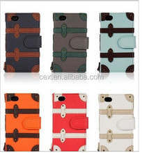 Wholesale - Wallet Flip Leather Case Pouch Card Holder Bag Cover Retro Trolley Box Skin for iPhone 4 4S