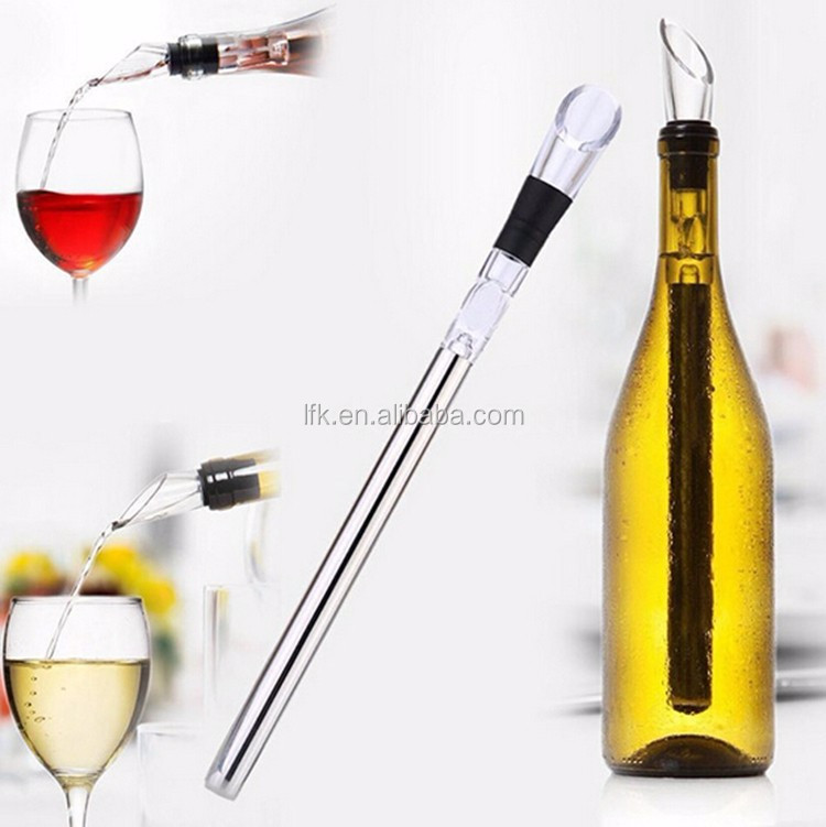 L.F.K. Direct Factory!! Wine Bottle Chill Stick With Aerator & Pourer ,Stainless Steel Wine Cooler Stick LFK-CR01