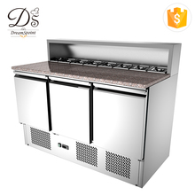 Commercial Three Doors Refrigerator Pizza Prep Table Refrigerator Work Table