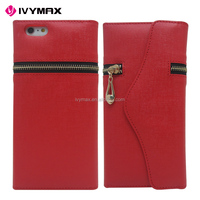 Hot new mobile phone leather wallet case fashionable zipper card holder case for iphone 6 plus