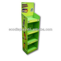 ECO Green Color Floor Standing Cardboard 4 tier display for fresh fruit juice