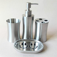 Desktop hotel clean suits clean soap dispenser soap dish and cups stainless steel wire Couples Bathroom accessories sets