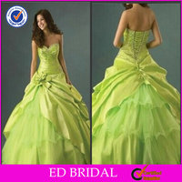 Crystal Satin Ball Gown Lime Green Wedding Dresses New Model