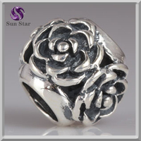 fashion accessories Oxidized 925 silver rose beads charms silver flower charm