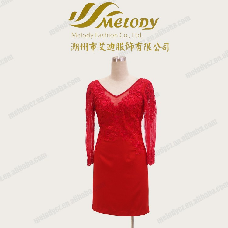 Hot lace embroidery zipper v-neck satin beading lady red long sleeve evening dress