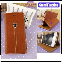 Ultra thin leather stand card slot magnetic case for iphone 5/5s