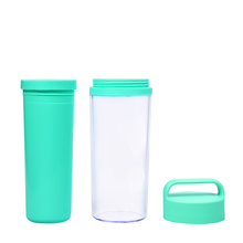 Double Wall Plastic Paper Insert Travel Mug Custom Tumbler With Hanlde Lid