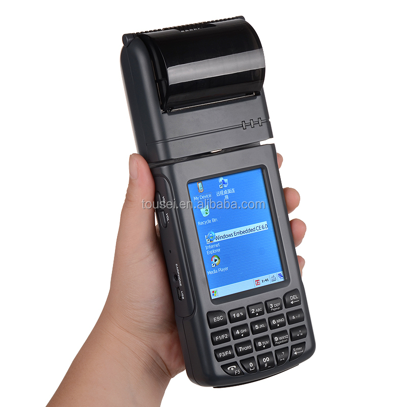 Portable windows ce PDA barcode scanner with thermal printer
