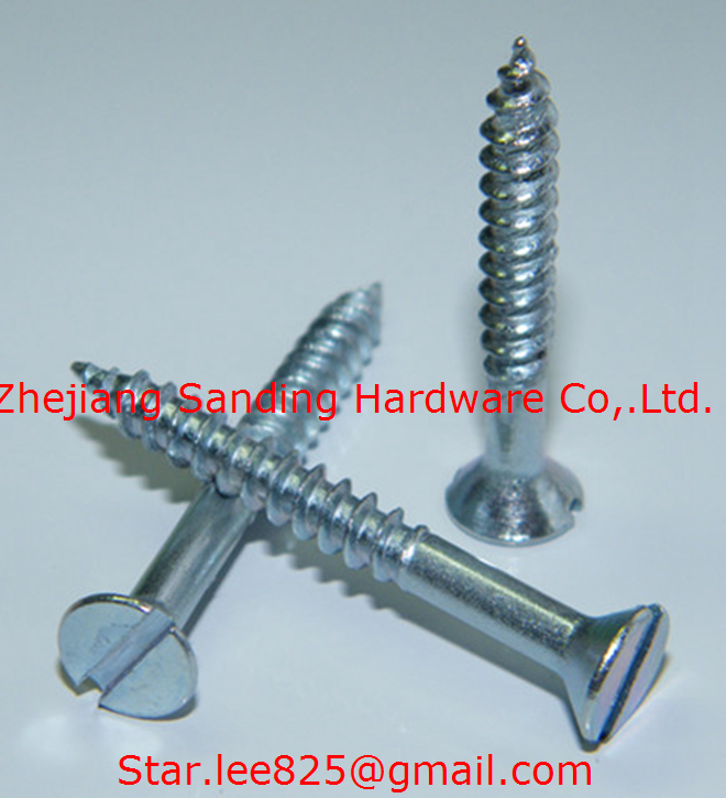 Slotted drive Flat head wood screw