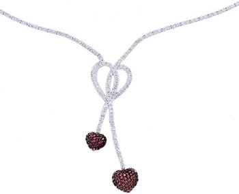 Diamond & Pink Sapphire Necklace, 14K White Gold