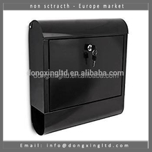 Galvanized Steel Black Post Box Wall-Mount Mailbox